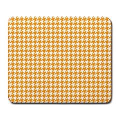 Friendly Houndstooth Pattern, Orange Large Mousepads