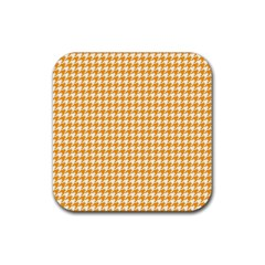 Friendly Houndstooth Pattern, Orange Rubber Square Coaster (4 Pack)