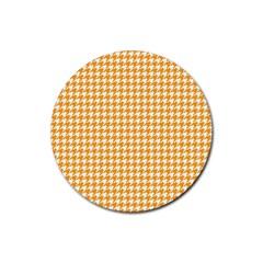 Friendly Houndstooth Pattern, Orange Rubber Coaster (round)