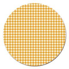 Friendly Houndstooth Pattern, Orange Magnet 5  (round)