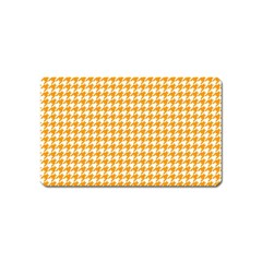 Friendly Houndstooth Pattern, Orange Magnet (name Card)