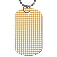 Friendly Houndstooth Pattern, Orange Dog Tag (two Sides)