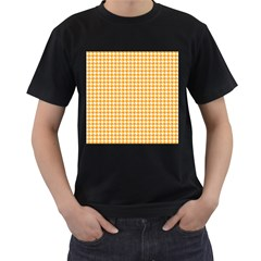 Friendly Houndstooth Pattern, Orange Men s T Shirt (black) (two Sided)