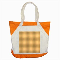 Friendly Houndstooth Pattern, Orange Accent Tote Bag