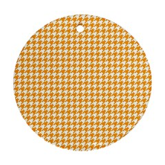 Friendly Houndstooth Pattern, Orange Round Ornament (two Sides)