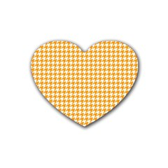 Friendly Houndstooth Pattern, Orange Rubber Coaster (heart)