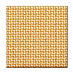 Friendly Houndstooth Pattern, Orange Face Towel