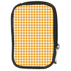 Friendly Houndstooth Pattern, Orange Compact Camera Cases