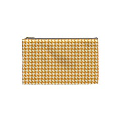 Friendly Houndstooth Pattern, Orange Cosmetic Bag (small)