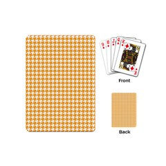 Friendly Houndstooth Pattern, Orange Playing Cards (mini)