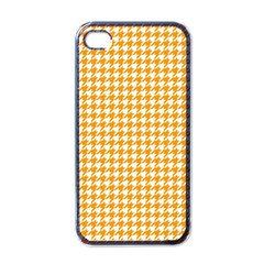 Friendly Houndstooth Pattern, Orange Apple Iphone 4 Case (black)