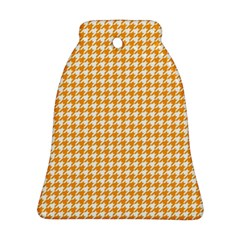 Friendly Houndstooth Pattern, Orange Bell Ornament (two Sides)