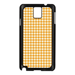 Friendly Houndstooth Pattern, Orange Samsung Galaxy Note 3 N9005 Case (black)