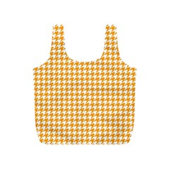 Friendly Houndstooth Pattern, Orange Full Print Recycle Bags (s)