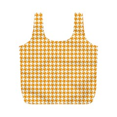 Friendly Houndstooth Pattern, Orange Full Print Recycle Bags (m)