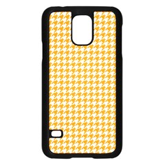 Friendly Houndstooth Pattern, Orange Samsung Galaxy S5 Case (black)