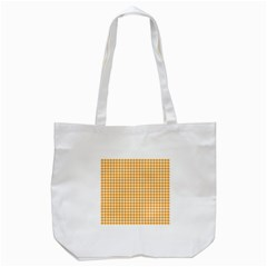 Friendly Houndstooth Pattern, Orange Tote Bag (white)