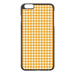 Friendly Houndstooth Pattern, Orange Apple Iphone 6 Plus/6s Plus Black Enamel Case