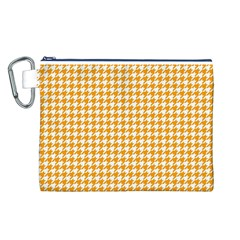 Friendly Houndstooth Pattern, Orange Canvas Cosmetic Bag (l)