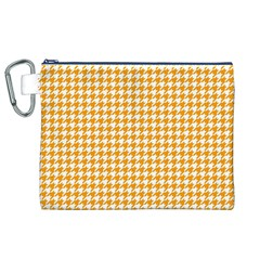 Friendly Houndstooth Pattern, Orange Canvas Cosmetic Bag (xl)