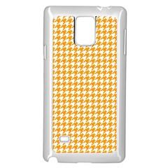 Friendly Houndstooth Pattern, Orange Samsung Galaxy Note 4 Case (white)