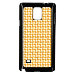 Friendly Houndstooth Pattern, Orange Samsung Galaxy Note 4 Case (black)