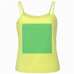 Friendly Houndstooth Pattern,aqua Yellow Spaghetti Tank