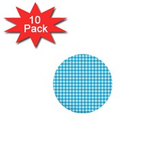 Friendly Houndstooth Pattern,aqua 1  Mini Buttons (10 Pack)