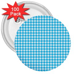 Friendly Houndstooth Pattern,aqua 3  Buttons (100 Pack)