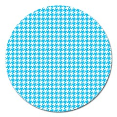 Friendly Houndstooth Pattern,aqua Magnet 5  (round)