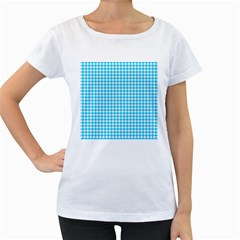 Friendly Houndstooth Pattern,aqua Women s Loose Fit T Shirt (white)