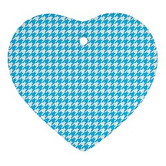 Friendly Houndstooth Pattern,aqua Heart Ornament (two Sides)