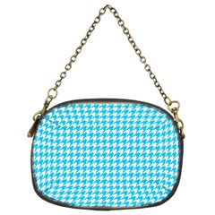 Friendly Houndstooth Pattern,aqua Chain Purses (two Sides)