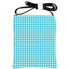 Friendly Houndstooth Pattern,aqua Shoulder Sling Bags