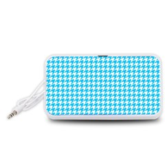 Friendly Houndstooth Pattern,aqua Portable Speaker (white)