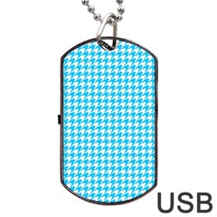Friendly Houndstooth Pattern,aqua Dog Tag Usb Flash (one Side)