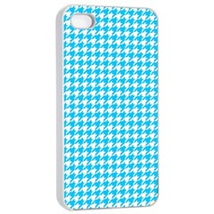 Friendly Houndstooth Pattern,aqua Apple Iphone 4/4s Seamless Case (white)