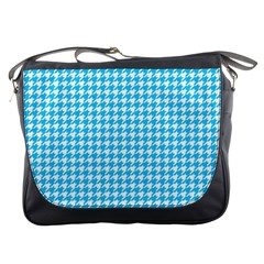 Friendly Houndstooth Pattern,aqua Messenger Bags