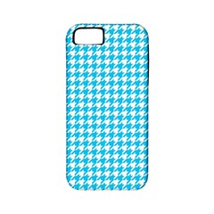 Friendly Houndstooth Pattern,aqua Apple Iphone 5 Classic Hardshell Case (pc+silicone)