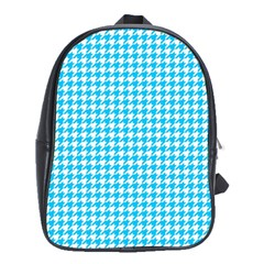 Friendly Houndstooth Pattern,aqua School Bag (xl)