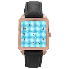 Friendly Houndstooth Pattern,aqua Rose Gold Leather Watch