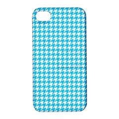 Friendly Houndstooth Pattern,aqua Apple Iphone 4/4s Hardshell Case With Stand