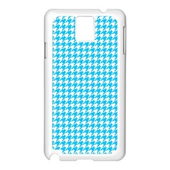 Friendly Houndstooth Pattern,aqua Samsung Galaxy Note 3 N9005 Case (white)