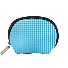 Friendly Houndstooth Pattern,aqua Accessory Pouches (small)