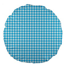 Friendly Houndstooth Pattern,aqua Large 18  Premium Flano Round Cushions
