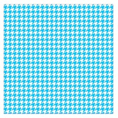 Friendly Houndstooth Pattern,aqua Large Satin Scarf (square)