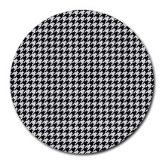 Friendly Houndstooth Pattern,black And White Round Mousepads