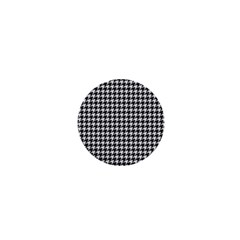 Friendly Houndstooth Pattern,black And White 1  Mini Buttons