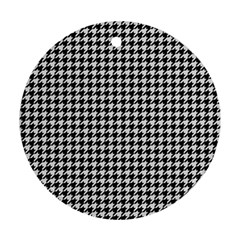 Friendly Houndstooth Pattern,black And White Ornament (round)