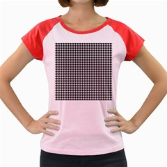 Friendly Houndstooth Pattern,black And White Women s Cap Sleeve T Shirt